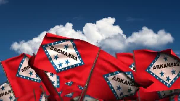 Waving Arkansas State Flags