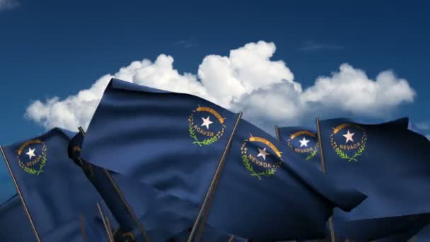 Waving Nevada State Flags