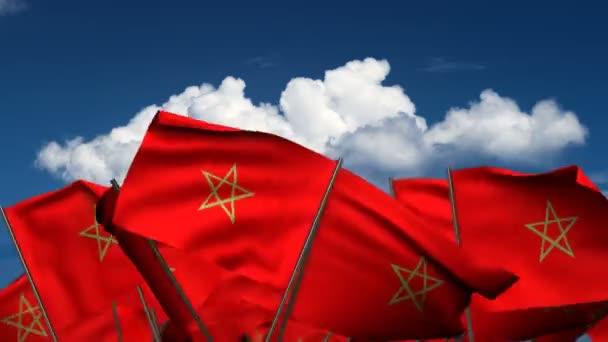marokkanische Flaggen schwenken (nahtloser  Alpha-Kanal))
