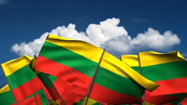 Waving Lithuanian Flags (seamless  alpha channel)