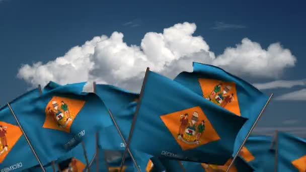 Waving Delaware State Flags (seamless  alpha channel)