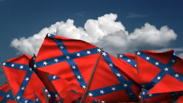 Waving Confederate State Flags (seamless  alpha channel)