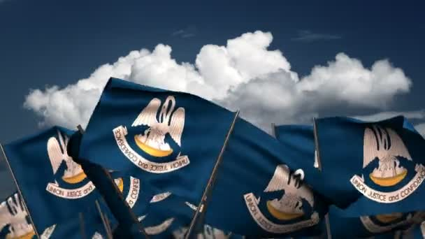 Waving Louisiana State Flags (seamless  alpha channel)