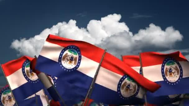 Mávali vlajkami stát Missouri (bezešvé  alfa kanál)