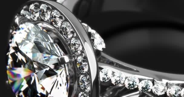 Precious diamond rings closeup on dark background