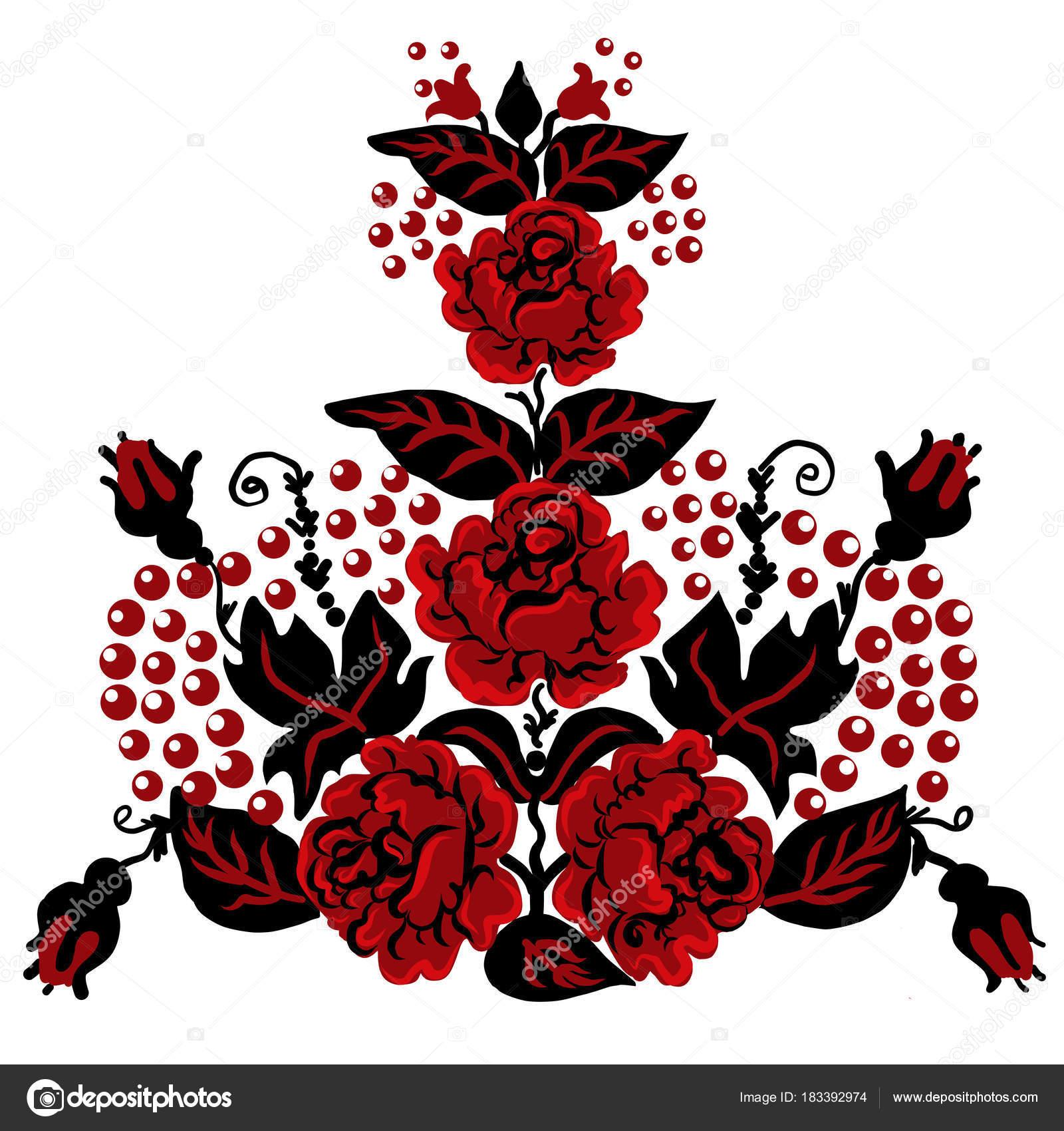 Ukraine Folk Ornament Decoration Design On Cup Clothes Floral Flowers Print For
