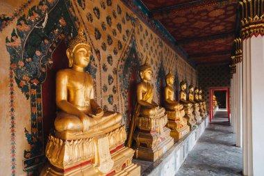 Ancient golden buddha statues in Bangkok, Thailand stock vector