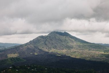 Beautiful scenic view of majestic Batur volcano, Bali stock vector