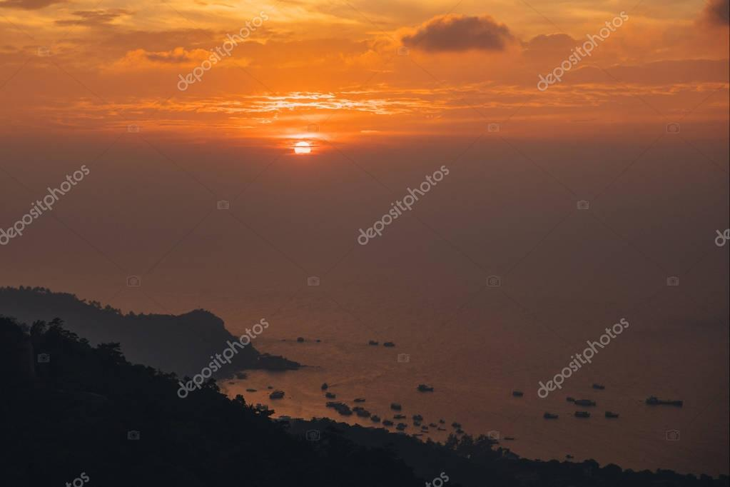 beautiful scenic landscape with seascape at sunset, Ko Tao island, Thailand
