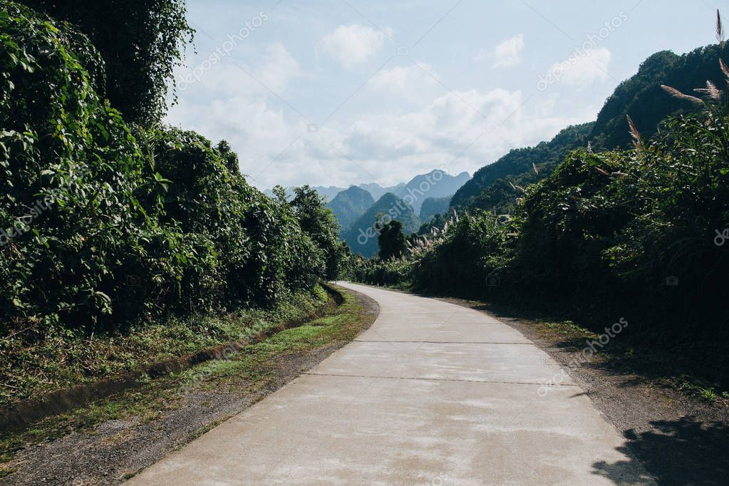 Фотообои rural road in beautiful mountains at Phong Nha Ke Bang National Park, Vietnam
