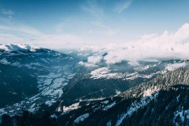Majestic winter mountain landscape in mayrhofen ski area, austria stock vector