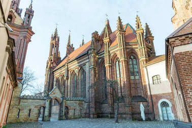 architecture of beautiful Church of St Anne, Vilnius, Lithuania