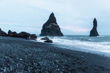 Beautiful seashore with rocks and cliffs, vik dyrholaey, reynisfjara beach, iceland stock vector