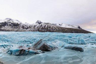 Majestic landscape with frozen Svinafellsjokull Glacier, Iceland stock vector