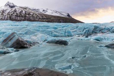 Beautiful landscape with frozen Svinafellsjokull Glacier, Iceland stock vector