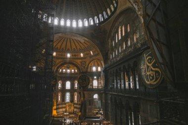 ISTANBUL, TURKEY - OCTOBER 09, 2015: interior of illuminated Suleymaniye Mosque stock vector