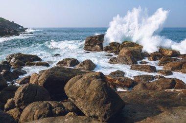 Beautiful scenic view of ocean and blue sky, unawatuna, sri lanka stock vector