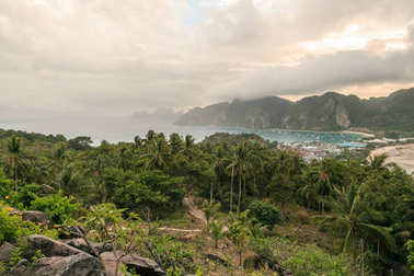 beautiful scenic view of green plants and cloudy sky, phi phi islands