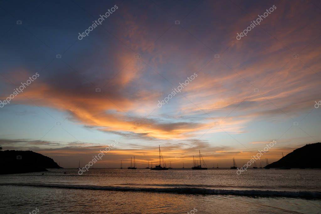 beautiful scenic view of sunset over ocean, phuket, thailand