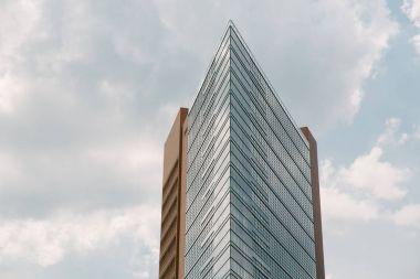 BERLIN, GERMANY - JUNE 20, 2017: modern designed skyscraper and blue cloudy sky, Potsdamer Platz, Berlin, Germany stock vector