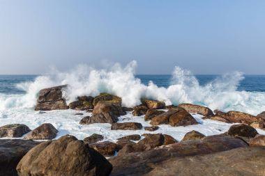 Scenic view of ocean waves washing into rocks, sri lanka, mirissa stock vector