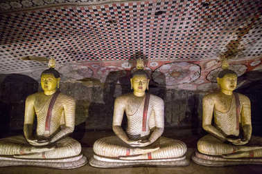 DAMBULLA, SRI LANKA - JAN 17, 2017: close up view of ancient traditional religious monuments in Asia stock vector