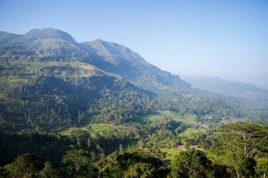 Beautiful scenic view of mountains and clear blue sky, sri lanka, nuwara eliya stock vector