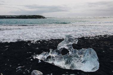 Close-up view of beautiful transparent ice in majestic icelandic landscape, Jokulsarlon Glacier stock vector