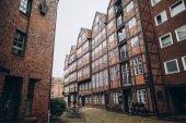 Tiefansicht von Straßen und Gebäuden in Hamburg, Deutschland