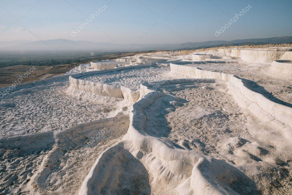 beautiful natural view of famous white rocks in pamukkale, turkey