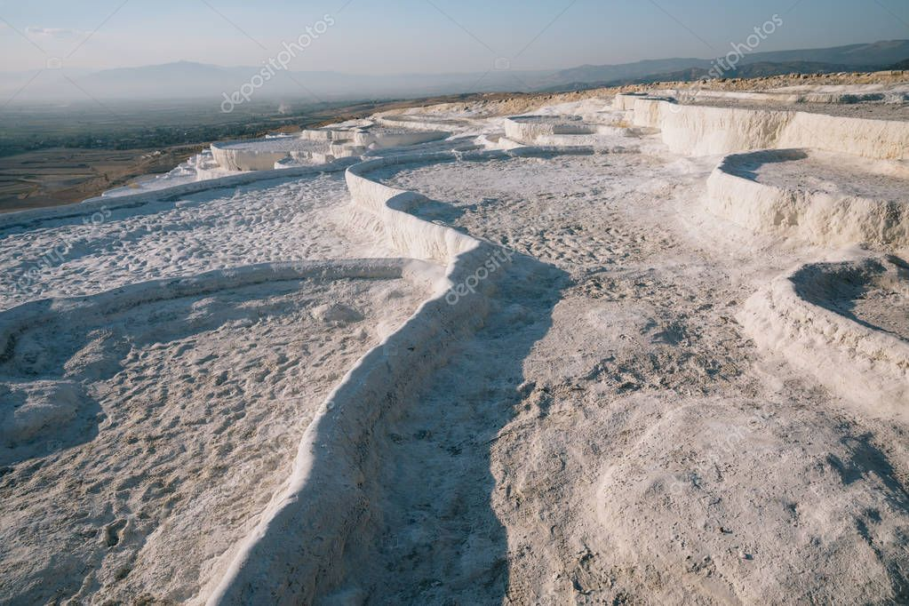 spectacular view of famous white rocks in pamukkale, turkey