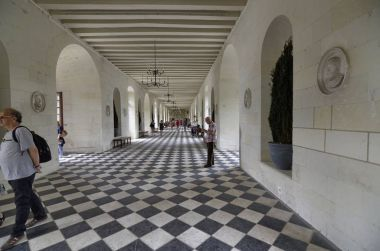 Castle of Chenonceau, Loire region, France. Snap of June 27, 2017. Castle of Chenonceau, Loire region, France. Taken on 27 June 2017. Interior of the castle, the corridor of the bridge over the river