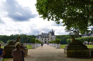 Castle of Chenonceau, Loire region, France. Snap of June 27, 2017. View of the castle from the long tree-lined avenue of entry
