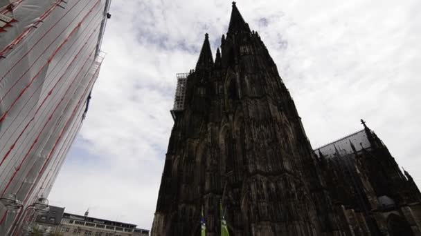 August 2019, Cologne, Germany, Cologne Cathedral building, bottom view video