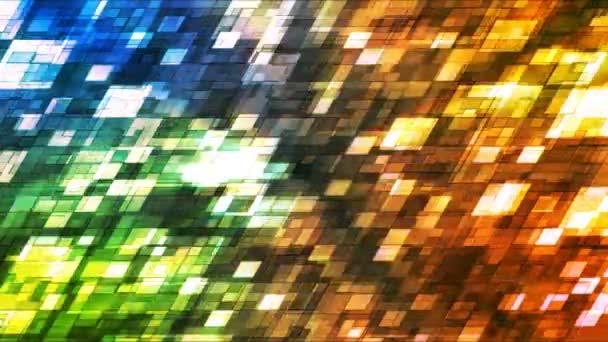 Vysílat blikající kosodélník Hi-Tech čtverců, více barev, abstraktní, Loopable, 4k