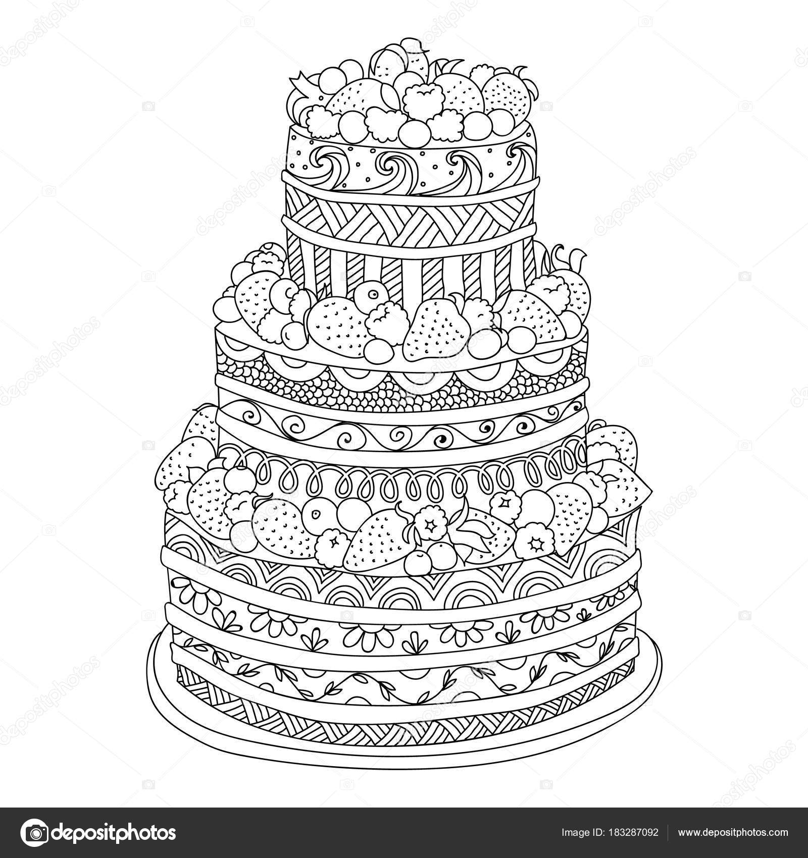 Mano Dibujada Doodle Pastel Con Frutos Para Colorear Libro Para ...