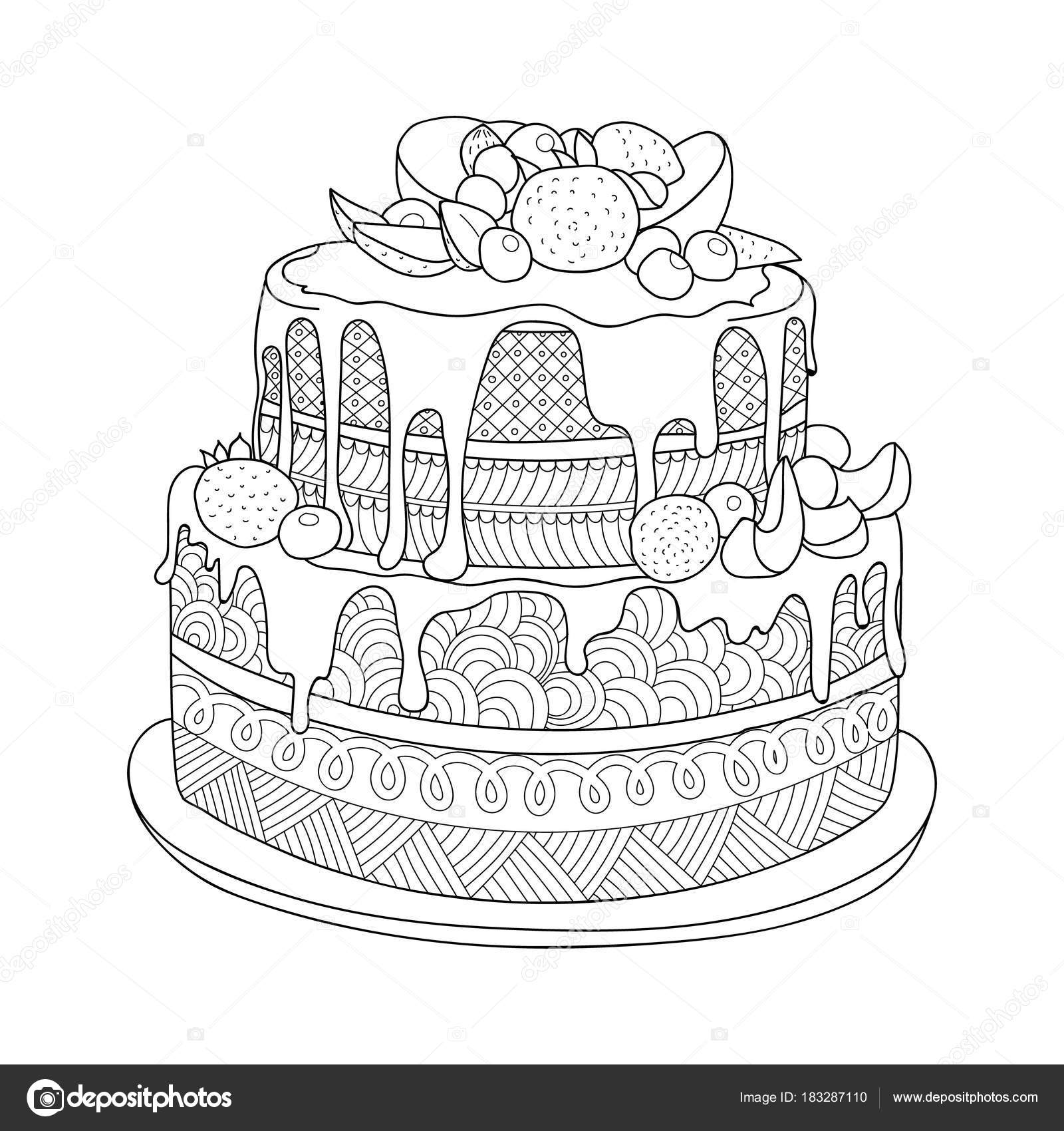 Hand Drawn Doodle Cake Berries Coloring Book Adults Zentangle Style