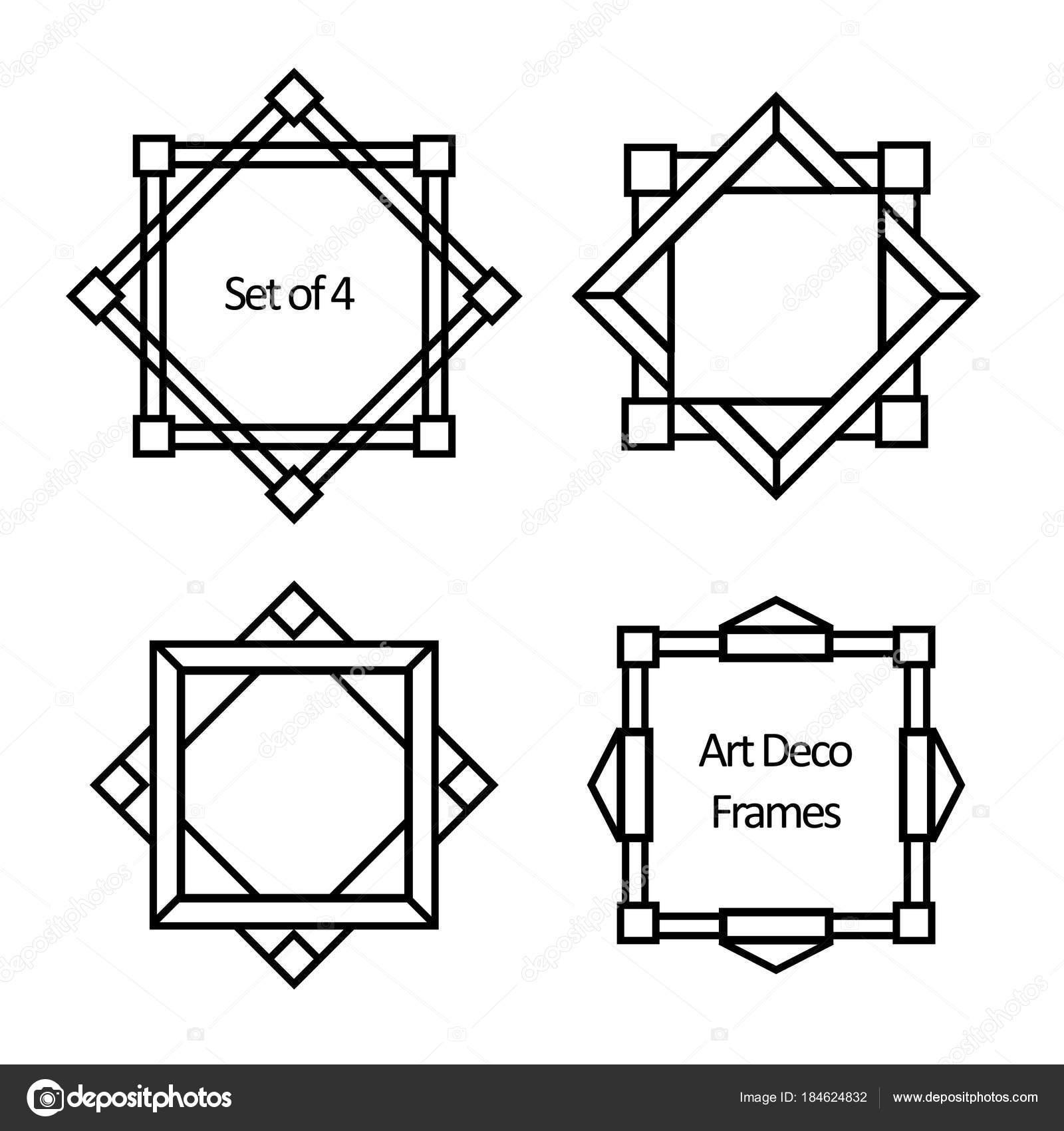 set art deco borders frames template style 1920s your design stock