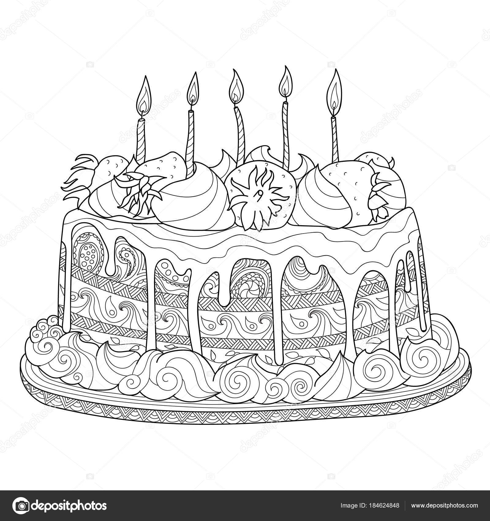 Hand Gezeichnet Doodle Kuchen Fur Malbuch Fur Erwachsene Zentangle