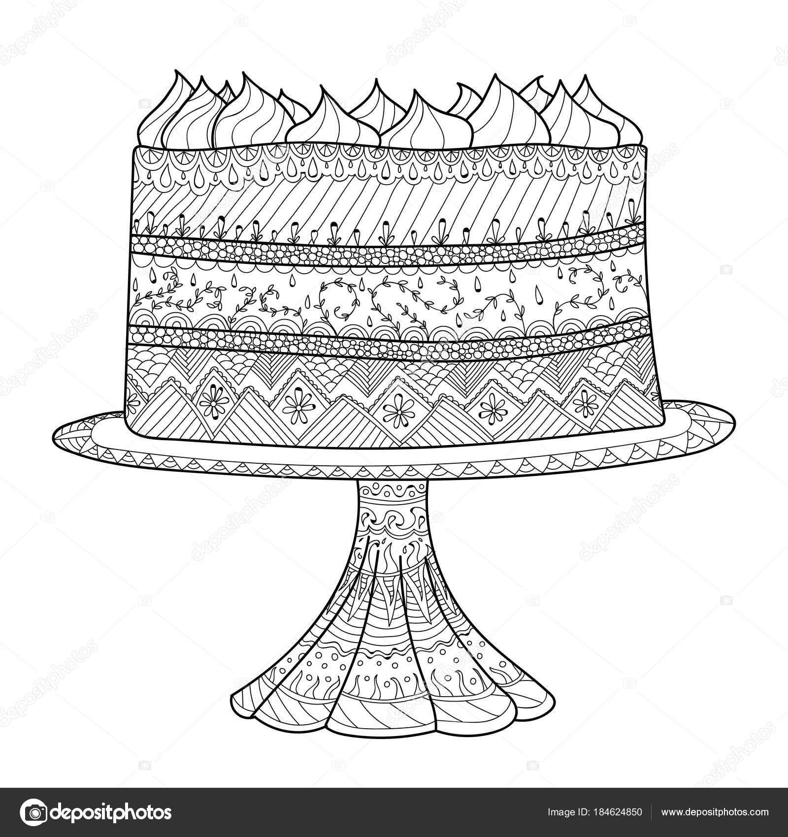Mano Dibujada Doodle Pastel Para Colorear Libro Para Adultos Estilo ...