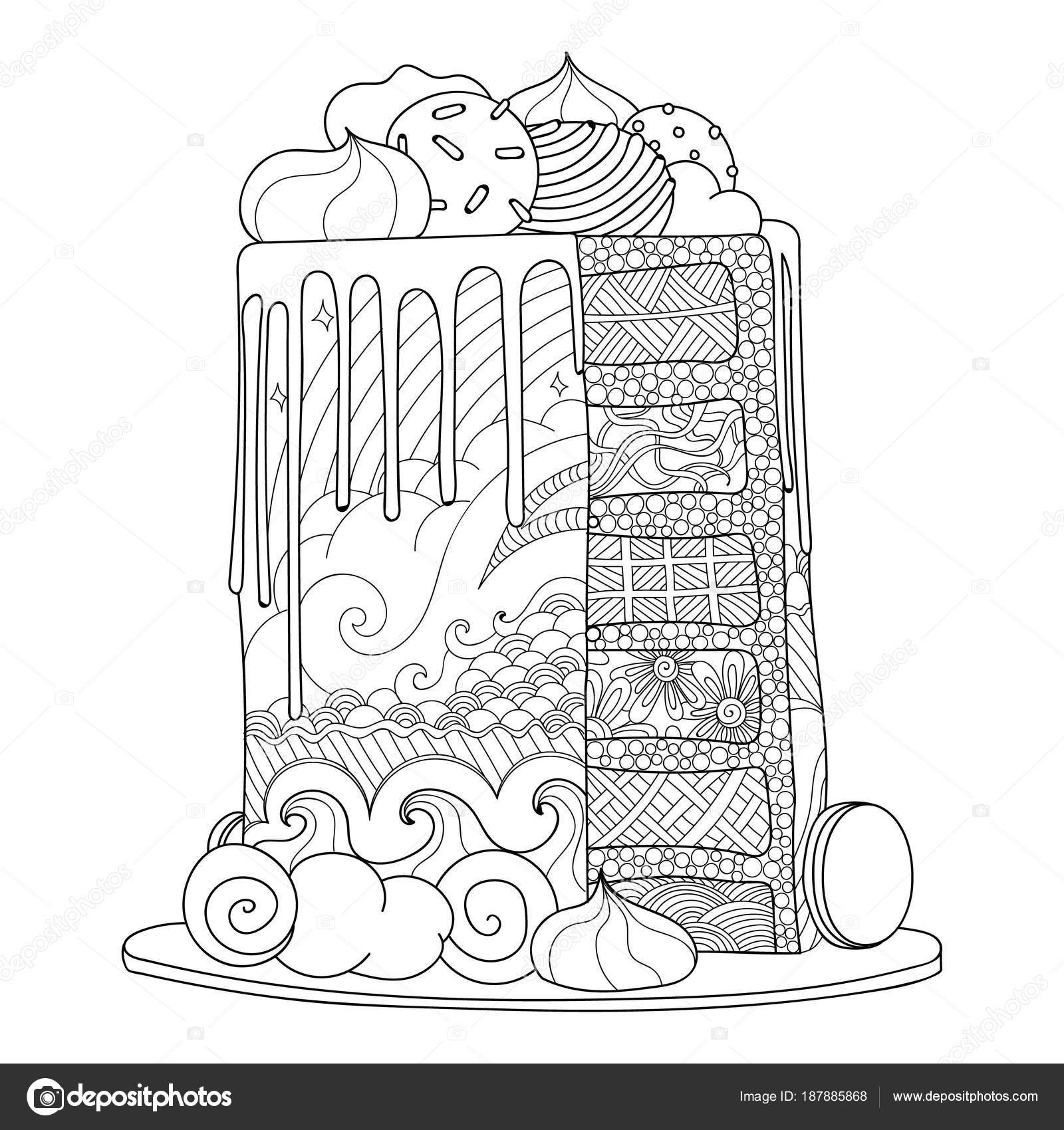 Hand Drawn Doodle Cake Coloring Book Adults Zentangle Style — Stock ...