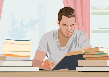 realistic vector illustration of writer
