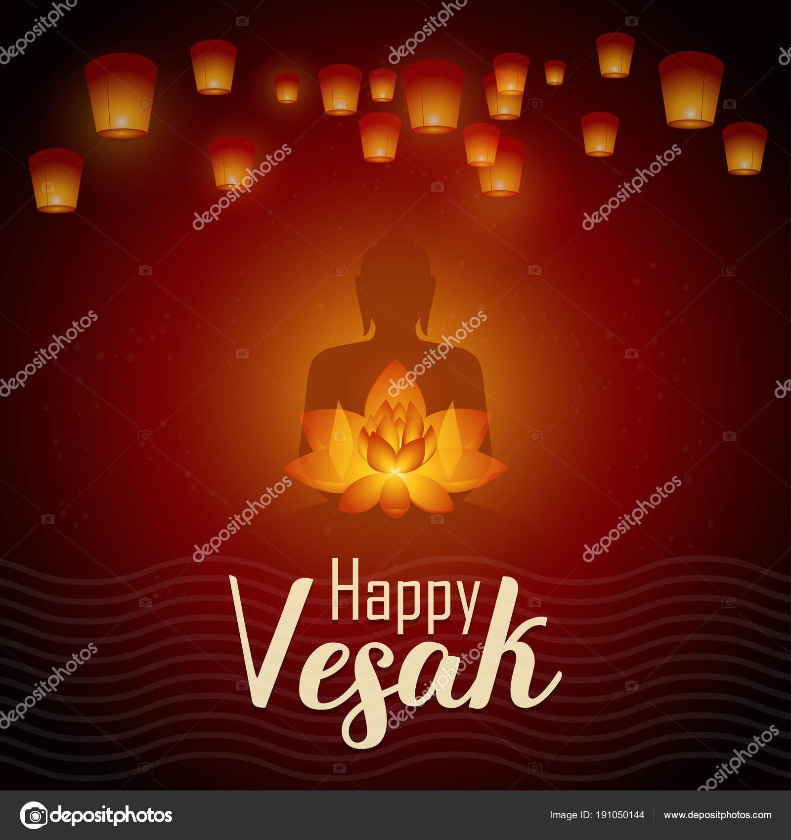 Happy Vesak Day Vector Illustration Greeting Card Lanterns And