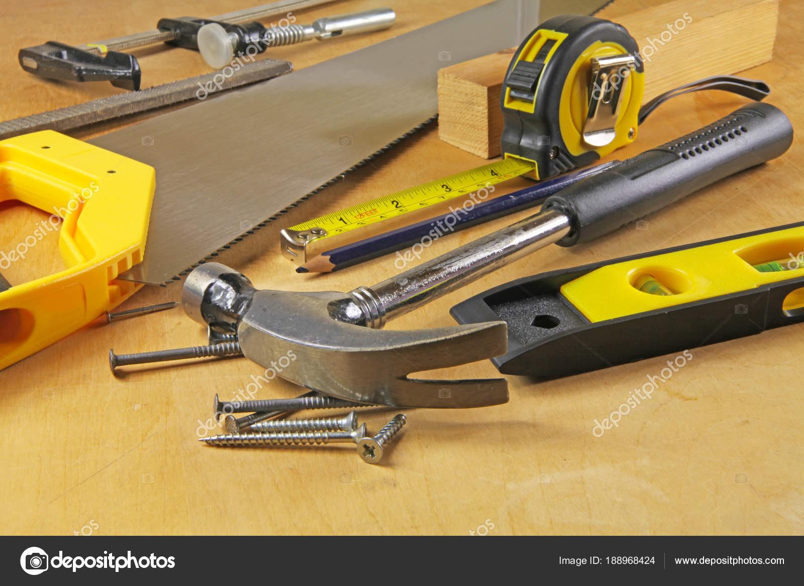 carpenter tools carpenters bench various tools stock photo