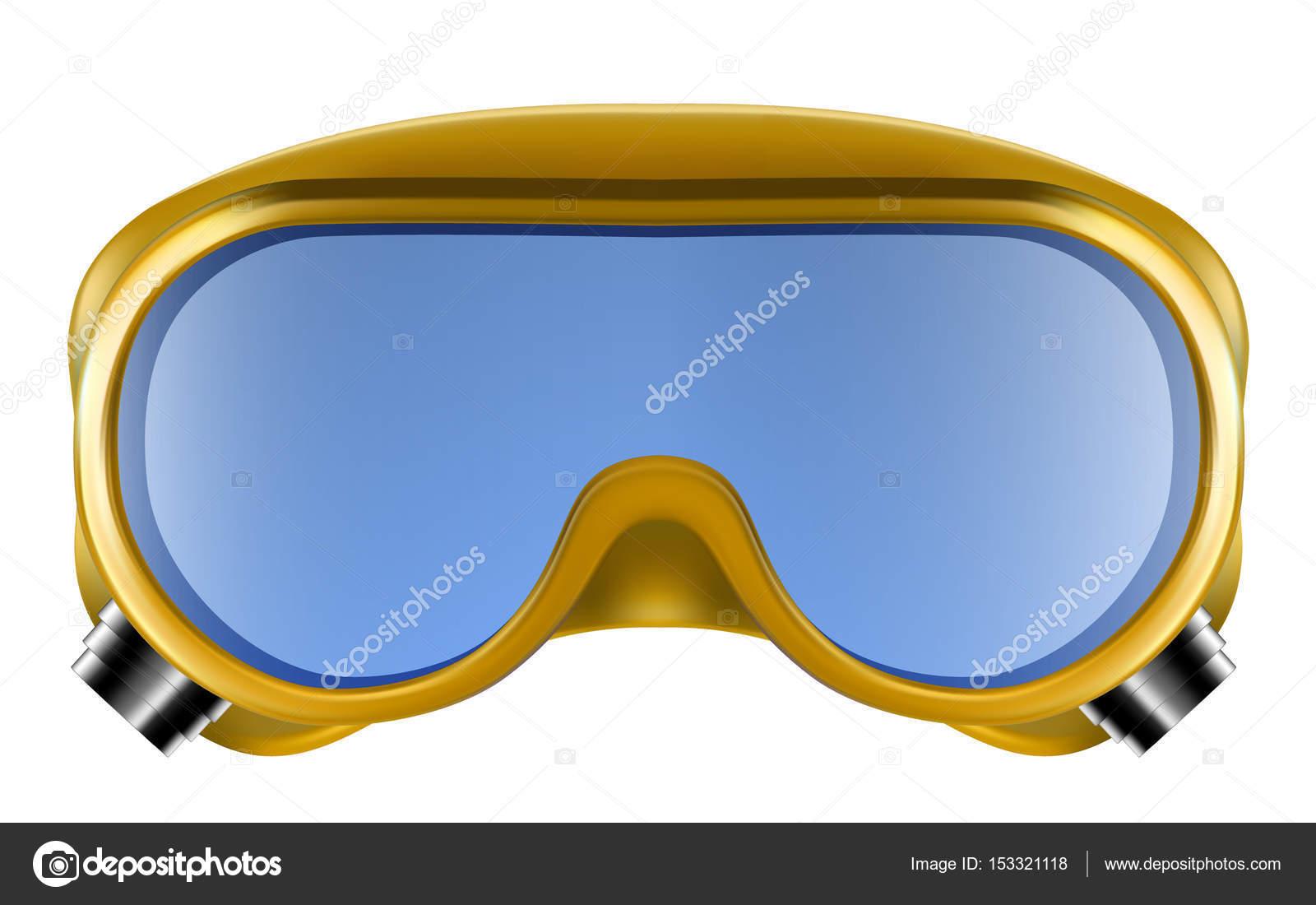 0c3763a60c Κίτρινο πλαστικά βιομηχανικά προστατευτικά γυαλιά απομονωθεί σε λευκό  φόντο. Διάνυσμα 3d απεικόνιση — Διάνυσμα με boule1301