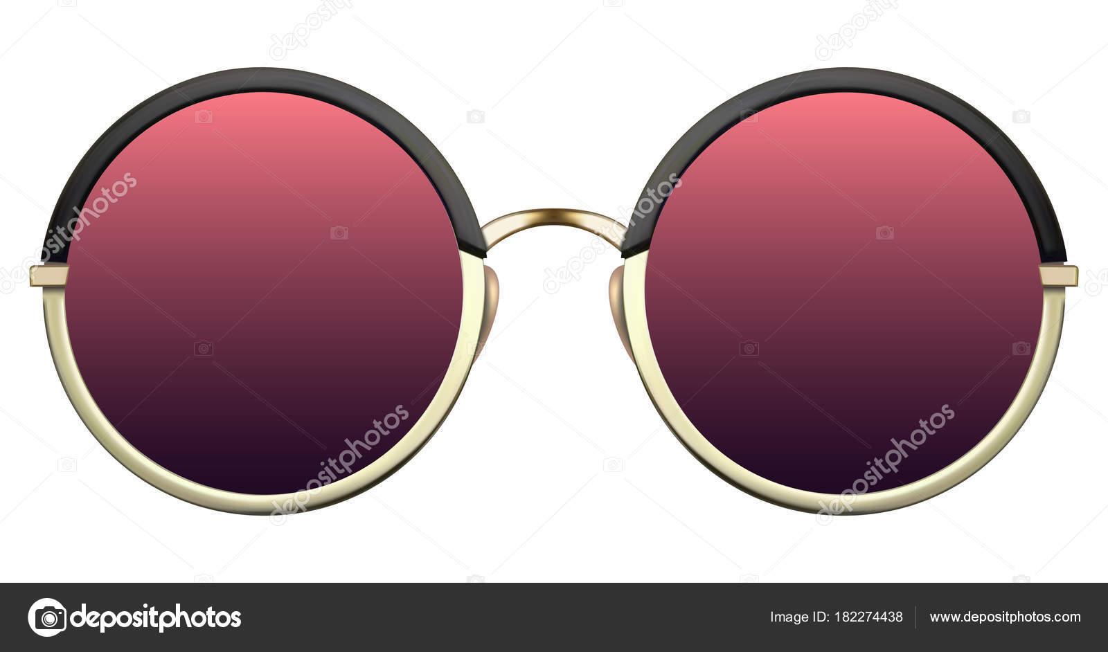 Gafas de sol con lente rojo y marco metálico Oro — Vector de stock ...