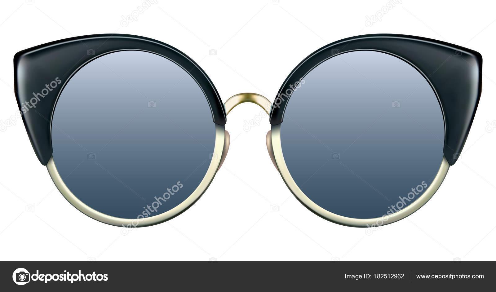 Sonnenbrille mit blauen Linse und metallische Goldrahmen ...