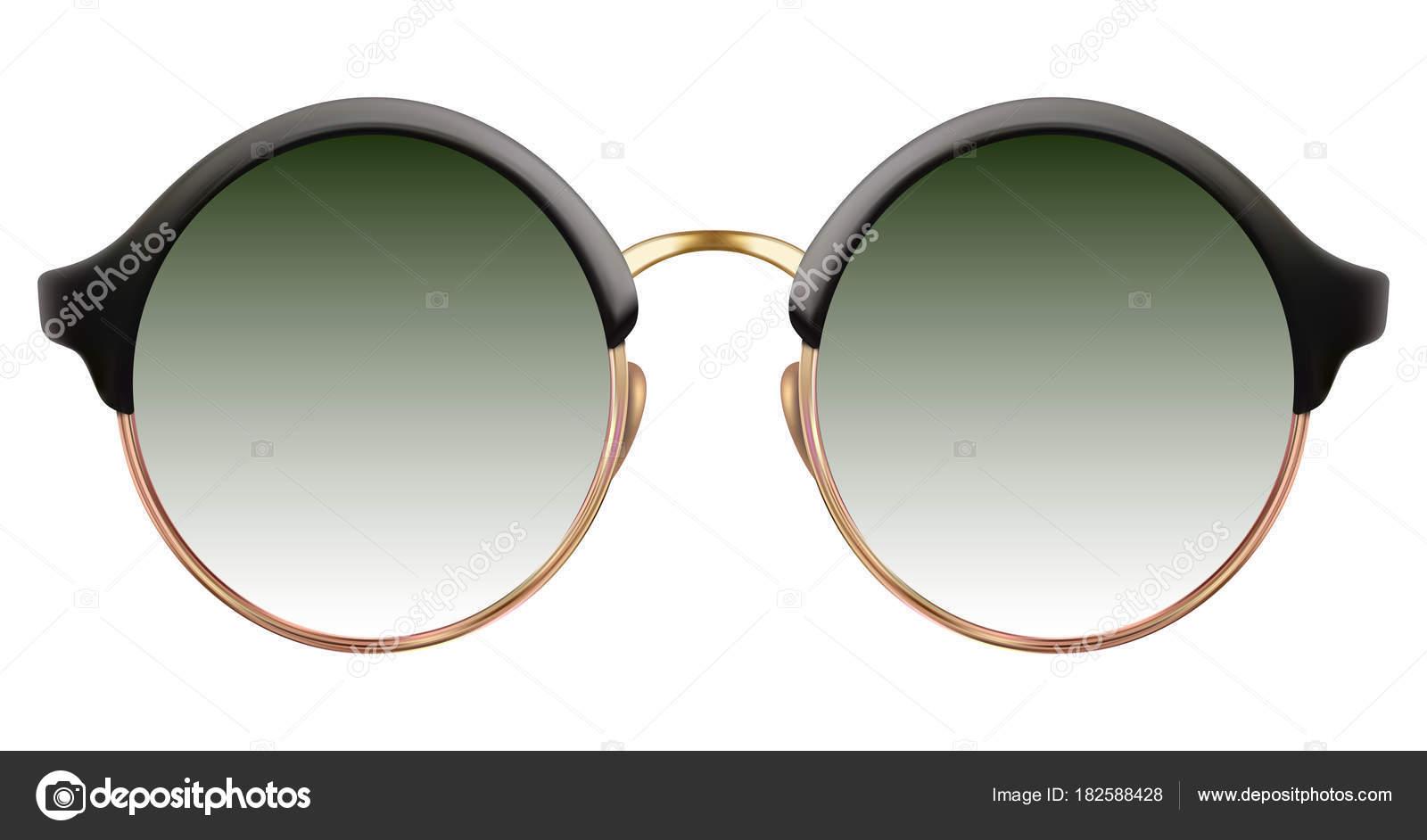 Sonnenbrille mit grünen Linse und metallische Goldrahmen ...