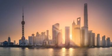 Sunrise view of Shanghai skyline with sunshine