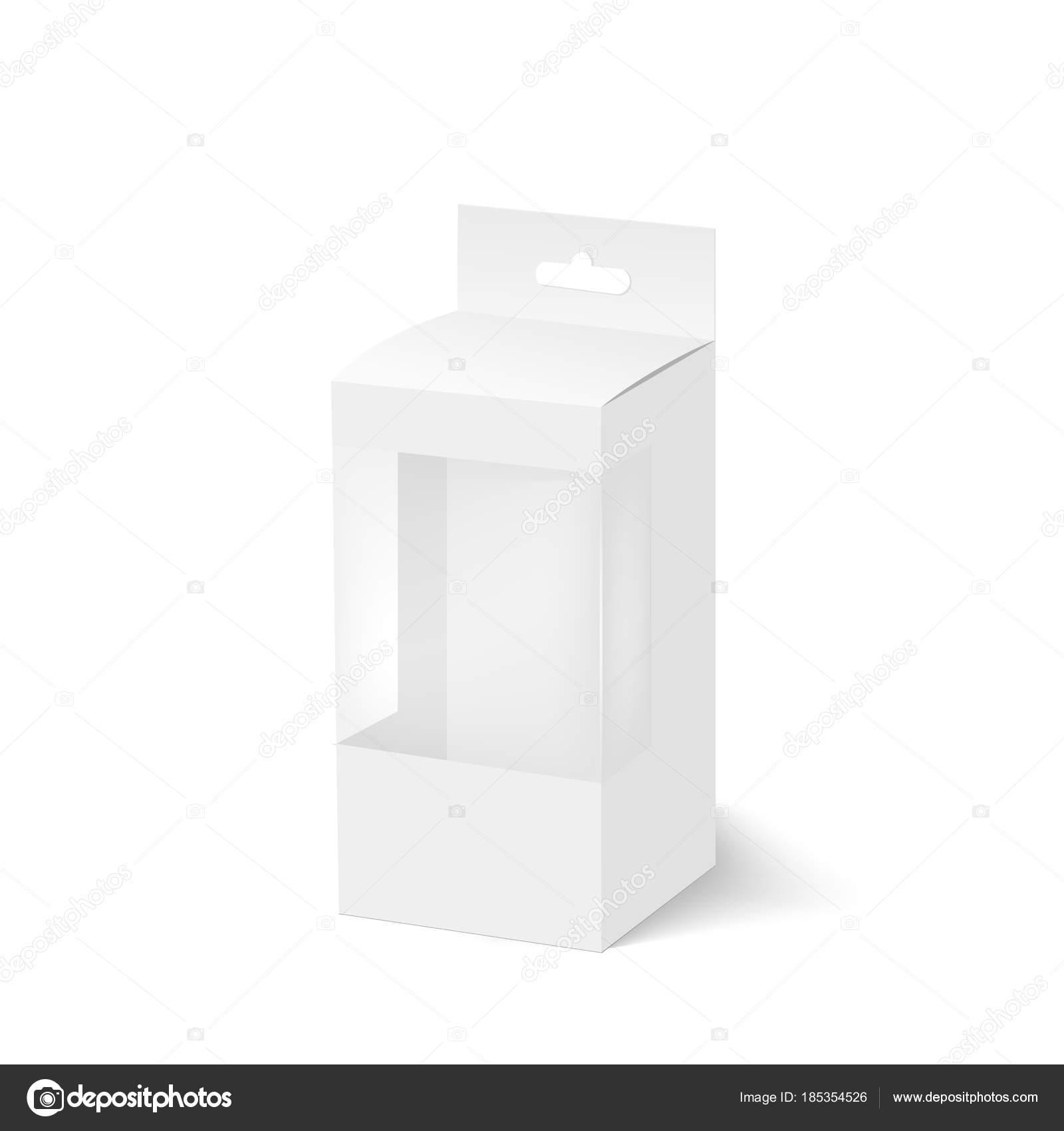 Пустые коробки с пластиковые окна и повесить слот. Вектор.
